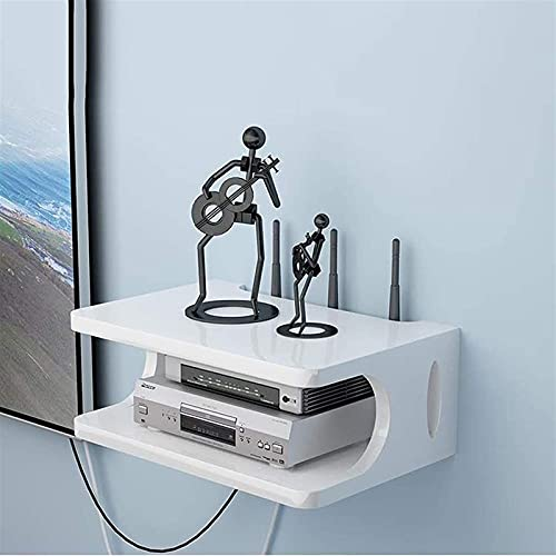 XWSM Organizador De Caja De Alambre, Enrutador WiFi, Decodificador, Reproductor De DVD, Compartimento De Almacenamiento De CD, Estante para TV Montado En La Pared, Estante De Pared, Estante