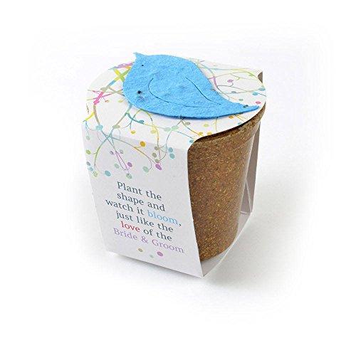 "Bloomin Seed Paper - Planting Kit Favor ""Bride *& Groom"" (BG-Blue Bird)"