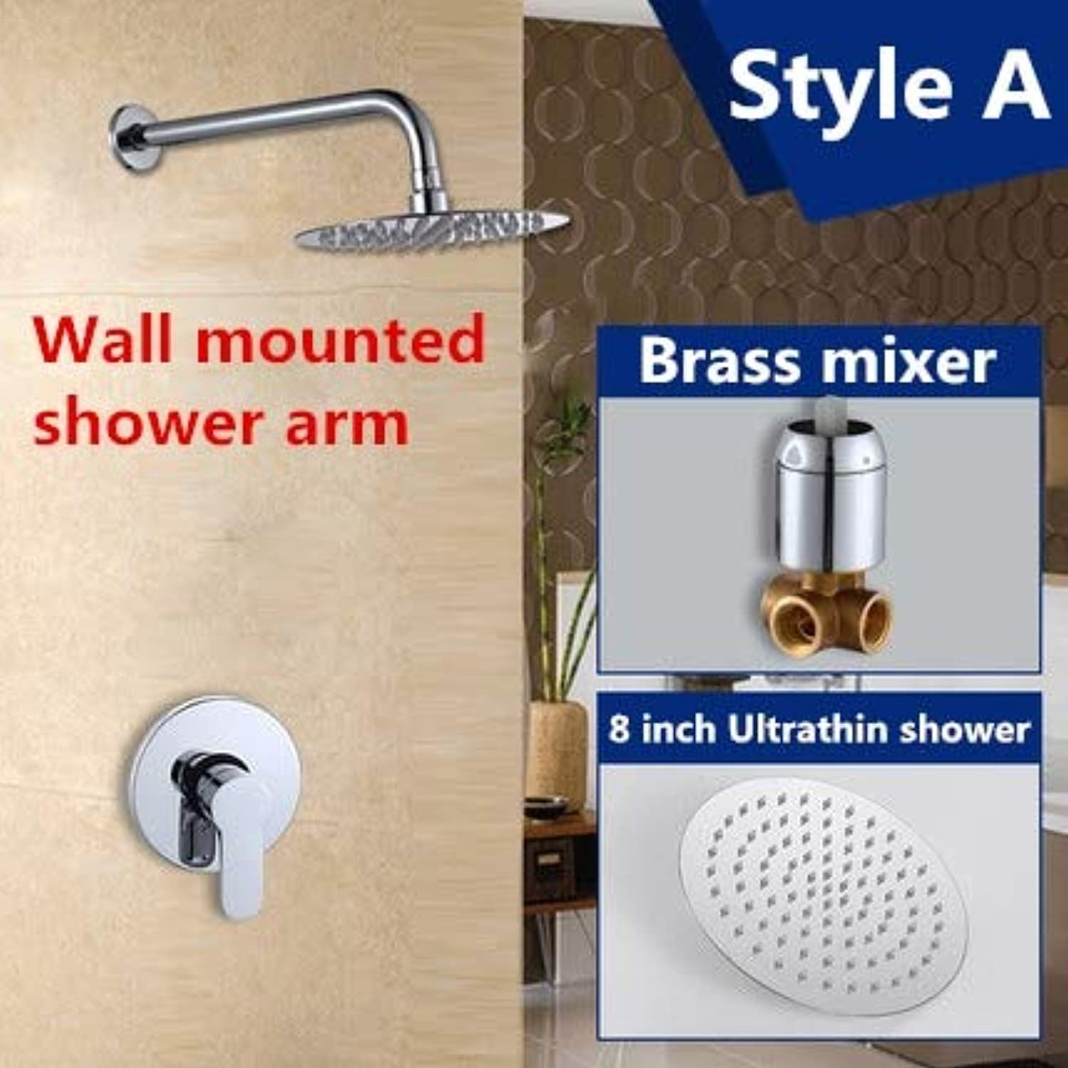 Free shipping in wall luxury bathroom showers brass chrome bathroom shower faucet with 8 inch shower head,rain shower sets head,Weiß