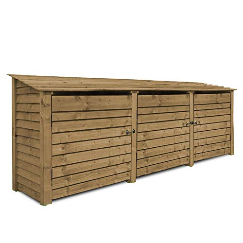 Rutland County Garden Furniture Empingham 4 ft Tall Log Store/Garden Storage Heavy Duty Pressure Treated Timber With Forward Sloping Roof (Solid Log Store With Kindling Shelf & Door, Rustic Brown)