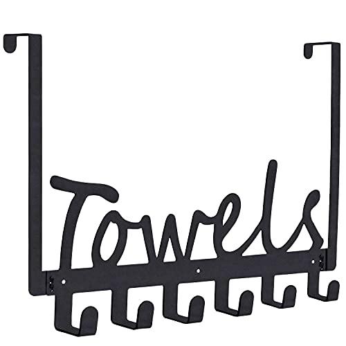 Over The Door Hook Towel Racks Bath Door Hanger with 6 Coat Hooks for Hanging, Heavy-Duty Organizer for Towel, Robe,Coat,Bag,Key, Clothes and More-Matte Black