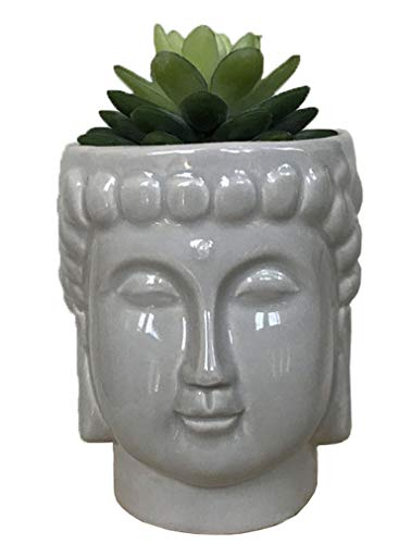 4.6Inch Ceramic Buddha Head Planter Pot Zen Succulent Plant Pot Pen Holder Pencil Cup Brush Holder Pot Remote Controller Holder Desk Organizer Home Office Room Decor Multi-use(Grey)