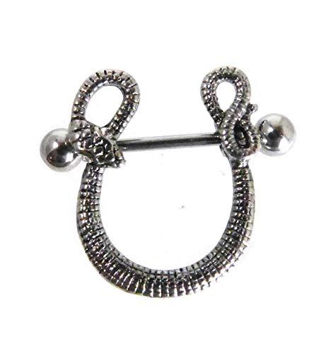 piercing-dreams NS7 Brustwarzenpiercing Nipple Shield -Schlange- aus 316L Chirurgenstahl 1,6 x 22 mm