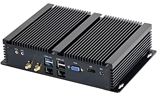 Partaker Fanless Mini PC,Industrial Computer,Desktop Computer with Core i7 8550U CPU, 16GB RAM 240GB SSD 1TB HDD, 2xNICs, 4xUSB 3.0, 6xCOM RS232, HD Port, Wi-Fi, Aluminum Body