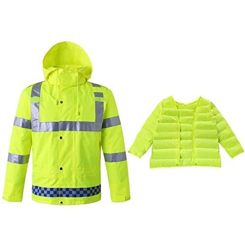 OLLVU Verdicken Warm Sicherheit Bomberjacke halten for Männer Hight Visibility Split Reflective Raincoat Winddichtes Außen Arbeit und...