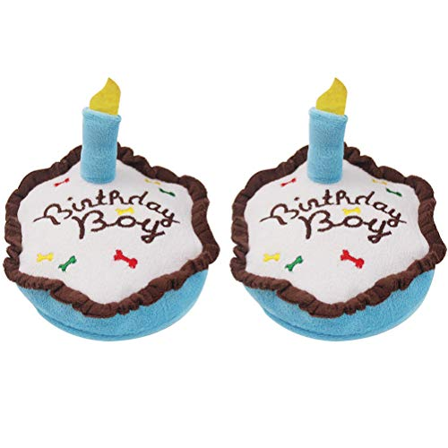 PAWCHIE Birthday Cake Squeaky Dog Toy 2 Pack Plush Toy