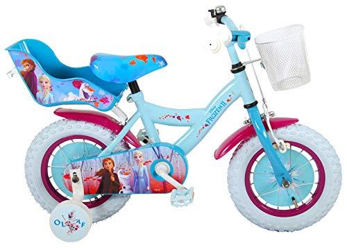 Bici Bicicletta Bambina Disney Frozen II 12 Pollici Ruotine Cestino e Portabambole Celeste 95% Assemblata