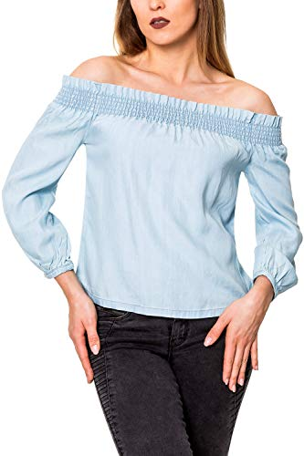 ONLY Damen Off Shoulder Blusen Sommerbluse aus Denim Jeansbluse Damenhemd (L, Colour 2)