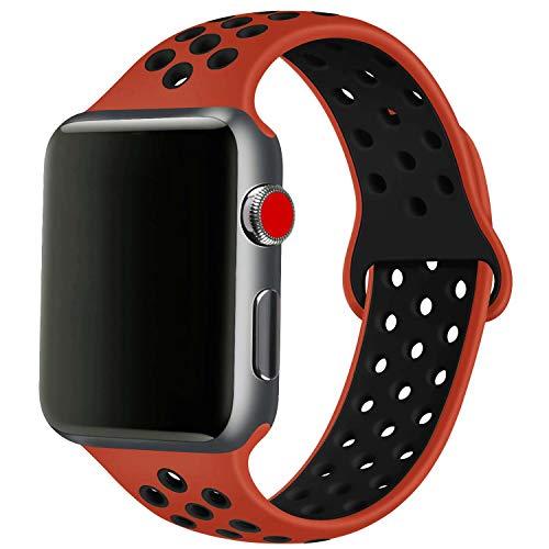 SSEIHI Compatibile con Cinturino Apple Watch 42mm 44mm,Cinturino di Ricambio Sportivo in Silicone Morbido per Cinturino per iWatch Serie 5/4/3/2/1,Sport,Traspirante, Impermeabile,S/M,Red Black