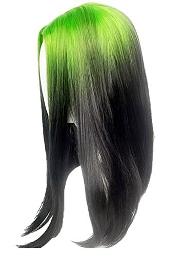 Green Black Wigs Cosplay Green Black Straight for Girls Women