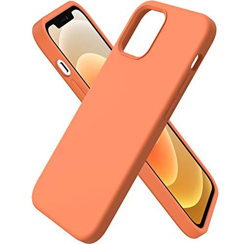 ORNARTO Custodia Compatibile con iPhone 12 Cover Sottile 6,1,Compatibile con iPhone 12 PRO Cover Silicone Liquido Protezione Completa in Gomma Gel Morbida con Fodera in Microfibra 6,1 Orange
