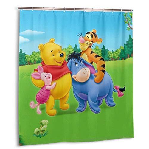 NBHJU Winnie The Pooh Duschvorhang Lustige wasserdichte Duschvorhänge Badvorhang Bad Set mit 12 Haken-für Zuhause Badezimmer Dekoration 66x72in