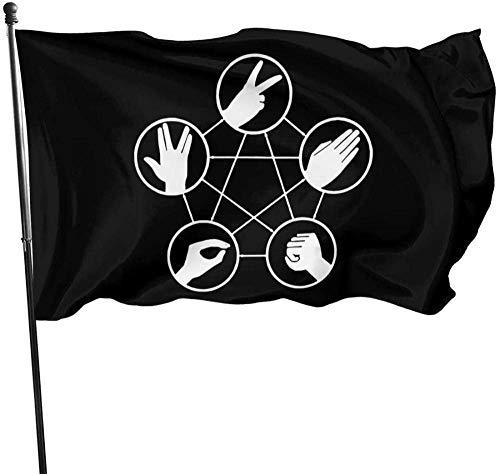 MYGED Bandera de jardín, Piedra, Papel, Tijeras, Lagarto, Bandera de Spock, 90150cm, Interior y Exterior.