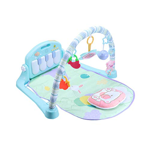 Toyvian Palestrina Musicale Tappeto Gioco con Pianoforte Giocattolo per Neonato Bambini (Cielo Blu Senza Batteria)