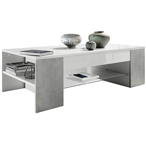 Vladon Table de Salon Table Basse Clip en Blanc avec des Bordures en Aspect Béton Oxyde