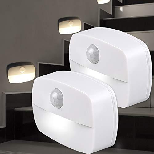 AmmToo Nachtlicht mit Bewegungsmelder ,[2 Stück] Bewegungslicht mit Batterie,Indoor NachtLicht Schrankbeleuchtung, Auto EIN/AUS Licht Sensor Licht Für Flur, Treppen, Bad, Schlafzimmer, Küche (Weiß)