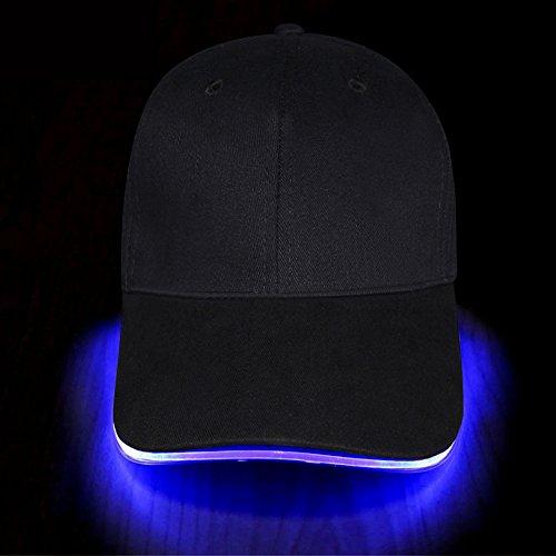 Fashion&Cool Casquette de Baseball lumière led Unisexe Coton Baseball Noir Cap pour Homme Femme Fille Garcon (Bleu)