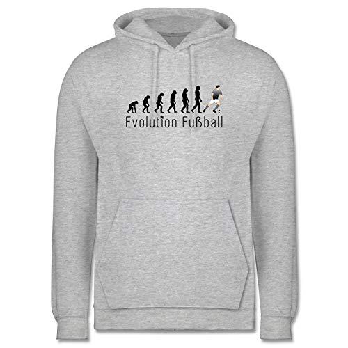 Shirtracer Evolution - Fußball Evolution - XXL - Grau meliert - Hoodie fußball - JH001 - Herren Hoodie und Kapuzenpullover für Männer