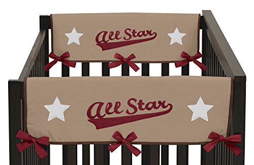 All Star Sports Teething Protector Cover Wrap Baby Boy Crib Side Rail Guards - Set of 2