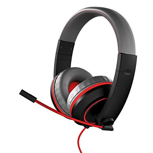 Gioteck XH100 Headset PC mit Mikrofon, 3.5 mm Klinkenstecker, für PS4, PS5, Xbox Series X, Xbox One, Switch und PC (Schwarz und Rot)