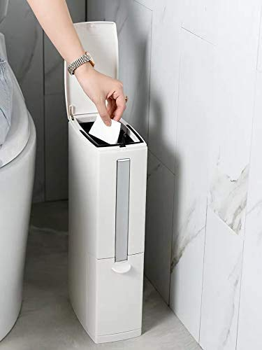 Cq acrylic Slim Plastic Trash Can 2.1 Gallon,Trash can with Toilet Brush Holder,8 Liter Garbage Can with Press Top Lid,White Rectangular Modern Waste Can for Bathroom