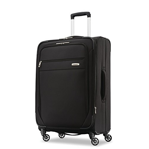 Samsonite Advena Softside Expandable Luggage with Spinner Wheels, Black, Checked-Medium 25-Inch