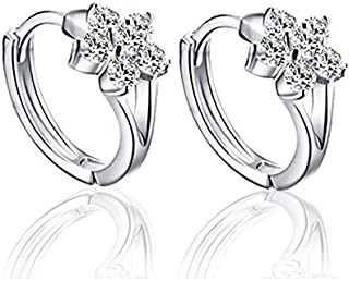 BESTPICKS 925 Sterling Silver Zircon Snowflake Earrings Gift for Women