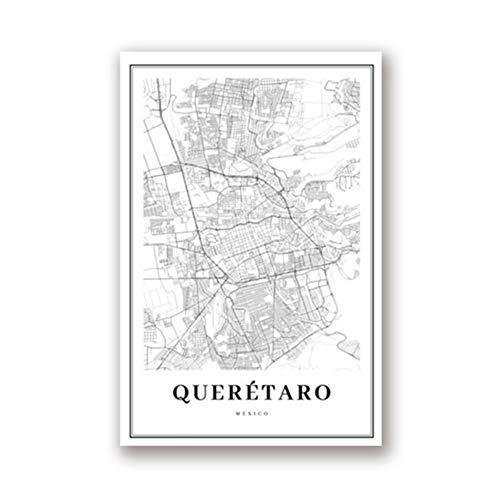 Mapa de Querétaro en blanco y negro Imprimir Calle de México Ciudad Mapa de ruta Cartel Nordic Living Room Home Wall Art Decor Canvas Painting-60x80cm Sin marco