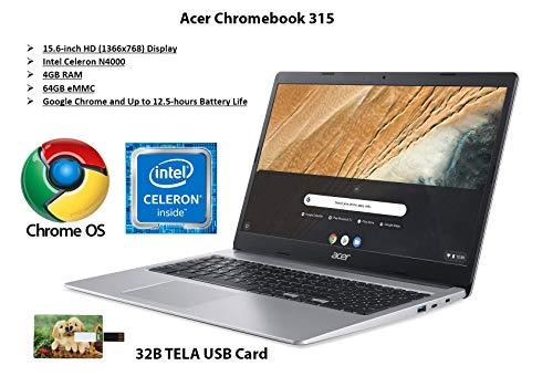 "2020 Newest Acer Chromebook 315, Intel Celeron N4000, 15.6"" HD Display, 4GB LPDDR4, 64GB eMMC, Gigabit WiFi, Google Chrome, CB315-3H-C4QE Chrome OS   32GB Tela USB Card"