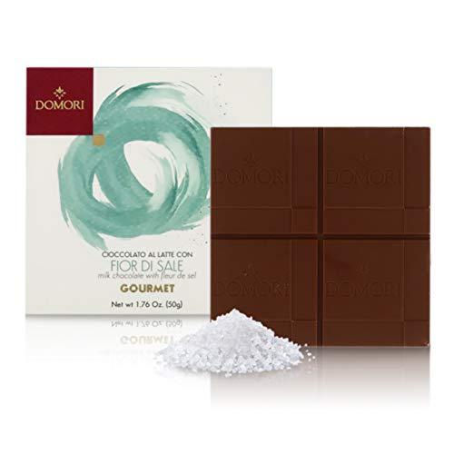 Domori Tableta de Chocolate con Leche y Sal de Guérande, Linea Cacao Gourmet - 50 Gramos