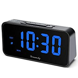 DreamSky 7.3 Inches Large Alarm Clock Radio, FM Clock Radio, 2 Inches Digit Display with Dimmer, USB Charging Port, Adjustable Alarm Volume, Weekday Display, Snooze, Sleep Timer, DST, Battery Backup.