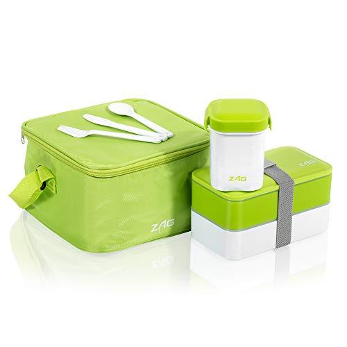 Fiambrera japonesa Bento con 2 compartimentos, recipiente para sopa antigoteo y bolsa fría, sin BPA, para microondas, de plástico Gris