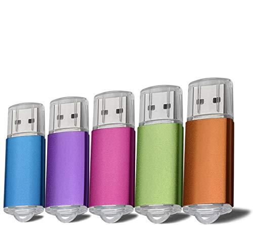 5 unidades de memoria USB 2.0 de 2 G, color azul, morado, rosa, verde, naranja (2 GB)