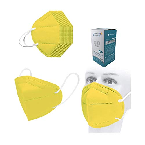 25pcs Yellow Adults Disposable _N95_ Face_Mask for Coronàvịrụs Protectịon, _N95_ Face_Masks for Women Men , Individual Package 5-Layer High-Density 𝓶𝓪𝓼𝓴, _𝙉𝟵𝟱_Mẵsk Mouth Covering, Outdoor ƘṆ_95 𝓶𝓪𝓼𝓴