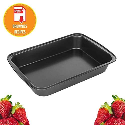 13 x 9 Inch Baking Pans, Nonstick Heat Resistant (500F) Rectangular Brownie Pan, Anti Rust Dishwasher Safe Stainless Steel Cake Pan with Brownies Recipe Ebook