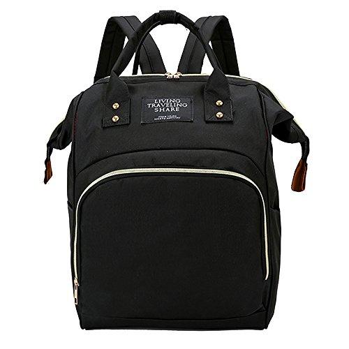 DAYLIN Bolsas de Lactancia, Mami Gran Capacidad Bolsa de Bebe Mochila de Viaje Color Sólido Nursing Bag (Negro)
