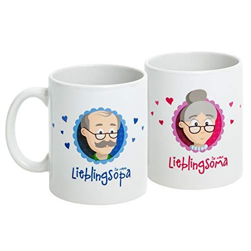 """Oma Opa Geschenke - Geschenk für Oma und Opa - Oma Tasse und Opa Tasse Set """"Lieblingsoma/Lieblingsopa"""" als super Oma und Opa Geschenkideen - Geschenk Oma und Geschenk Opa mit GRATIS Glückwunschkarte - Oma Geschenk und Opa Geschenk zu Weihnachten und Geburtstag von MyOma"""