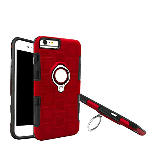 Haiqing Armor - Funda de protección 2 en 1 con soporte giratorio para anillo de dedo, soporte magnético para coche compatible con iPhone 6 Plus/7 Plus/8 Plus. Color rojo