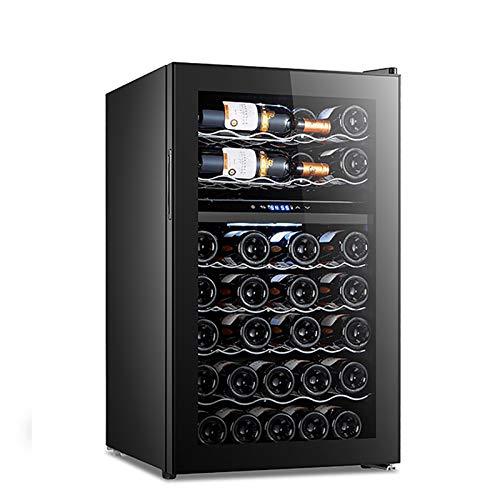 Enfriador de Vino Refrigerador Nevera 38 Botellas Zona única Bodega Enfriador de Vino Independiente Ciclo de Puerta de Vidrio de Doble Capa hidratante
