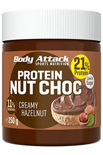 Body Attack Protein Nut Choc, Creamy Hazelnut, 250 g, Nuss-Nougat-Creme mit 21% Protein, Schokocreme ohne Zuckerzusatz mit echten Haselnüssen