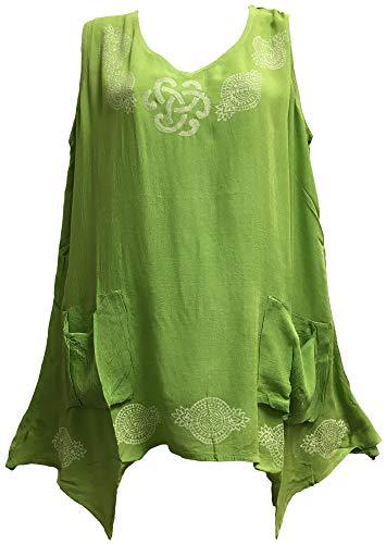 Yoga Trendz Celtic Print Spring Summer Sleeveless Two Pocket Tunic Cami Tank Top Blouse (No6 Lime Green)