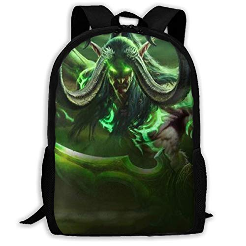 JNMJK World Warcraft Illidan Stormrage Reiserucksack für Erwachsene Passend für 15,6-Zoll-Laptop-Rucksäcke School College Bag Lässiger Rucksack für Männer und Frauen