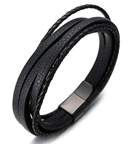 Halukakah Basics  Highway Blues  Herren-Armband Handgefertigt | Echtleder in Schwarz | Magnetverschluss Edelstahl in Schwarz | KOSTENLOS Geschenkbox | Tolle Geschenkidee | 21.5cm