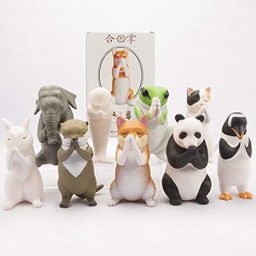 DHL 9 stijlen Gassho Zegen Dier Shiba Inu Sanmao Kat Dolfijn Minase Pinguïn Olifant Panda Decoratie Doos 10CM
