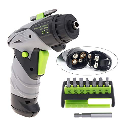 Resistant Cordless Mini Electric Screwdriver Drill Battery Powered Electric Screw Driver Set with LED Light and 7 Bits Counteractive (Color : Green)