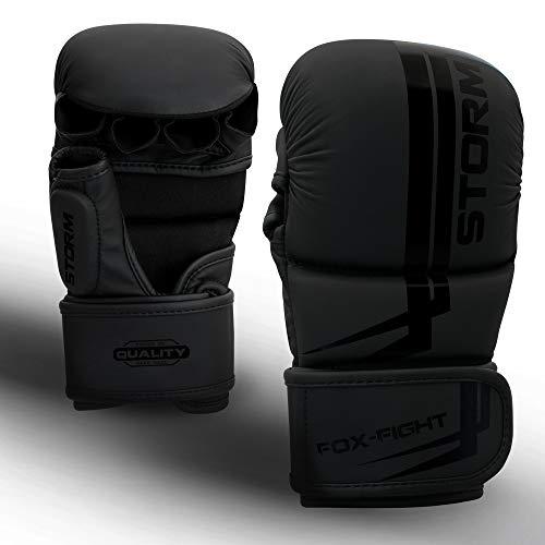 FOX-FIGHT Storm MMA Sparring Handschuhe Shooto Kampfsport Boxsack Sparring Freefight Sandsack Training Grappling Gloves Punchinghandschuhe S/M schwarz