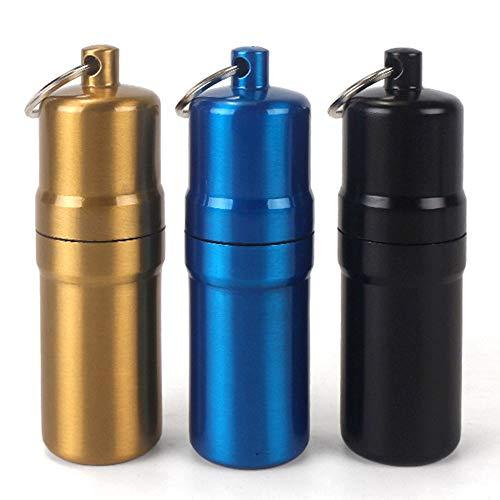 Migimi 3 palillos de cigarrillos, portátil, redondo, aleación de aluminio, llavero, impermeable, para actividades al aire libre (negro, azul y dorado)