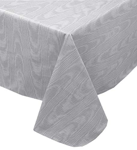 Newbridge Grey Moire Wavy Solid Color Print Heavy Gauge Vinyl Flannel Backed Tablecloth, Hotel Quality Heavyweight Wipe Clean Tablecloth, (70 Inch Round)