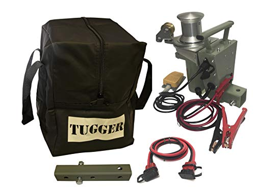 Tugger2-Fairlead Electric 12 Volt Portable Capstan Winch for Your 2' Tow Hitch (12' Foot AWG Cable)