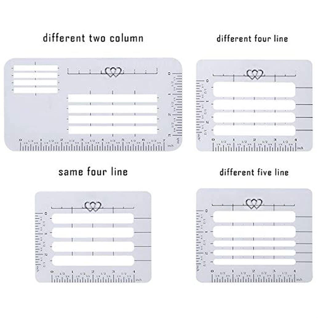 Zbella 4Pcs 4 Style Envelope Addressing Guide Stencil Templates for Wide Range of Envelopes, Sewing, Thank You Card, Wedding Invitations Calligraphy